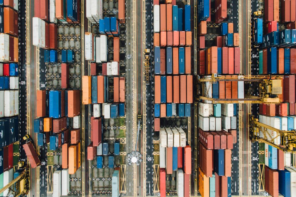 shipping containers picture from above